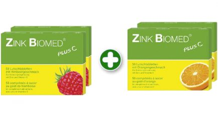 Familienpackung Zink Biomed plus C, Himbeere & Orange