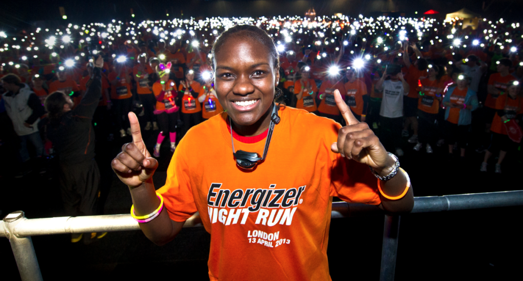 Smiley at the Energizer Night Run.